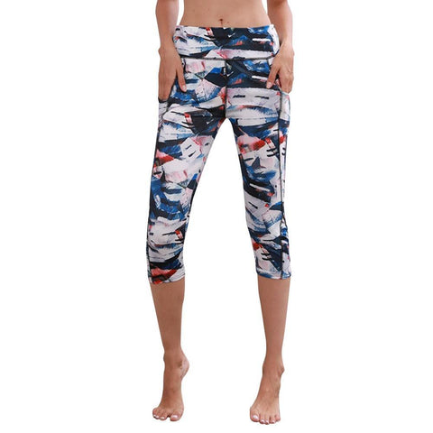 PINkart-USA Women Pants Harem Skinny Women High Waist Pocket Print Yoga Fitness Leggings Calf Length Pants T