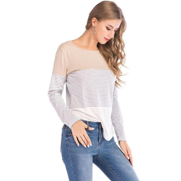PINkart-USA Womens T Shirts Tops Autumn And Winter Casual Loose Striped Patchwork Sleeve Tee Shirts Femme