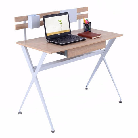 PINkart-USA Wood Top Computer Desk Modern Student Study Writing Laptop Table Workstation With Drawer Home