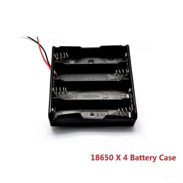 PINkart-USA X4 Slots Black Plastic 1X 2X 3X 4X 18650 Battery Storage Box Case 1 2 3 4 Slot Way Diy Batteries Clip Holder