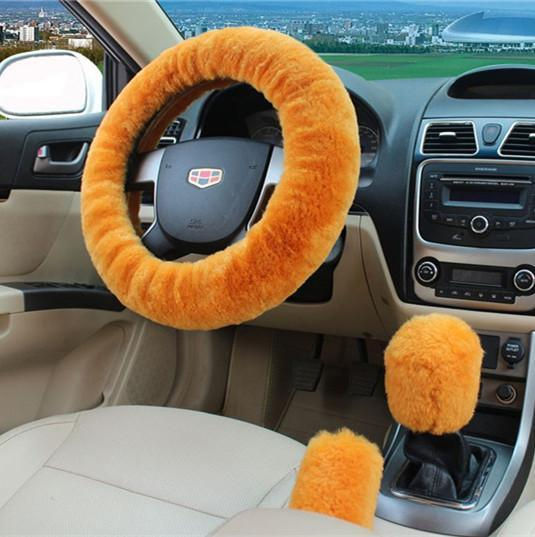 PINkart-USA Yellow 100% Wool Braid On The Steering Wheel Cover Of Car Handbrake Grip /High Quality Wool Plush Gear