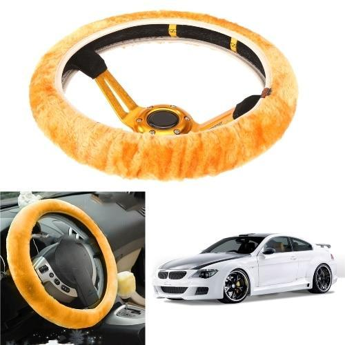 PINkart-USA Yellow High Density Thickened Car Fur Steering Wheel Cover Universal Car Soft Warm Plush Winter