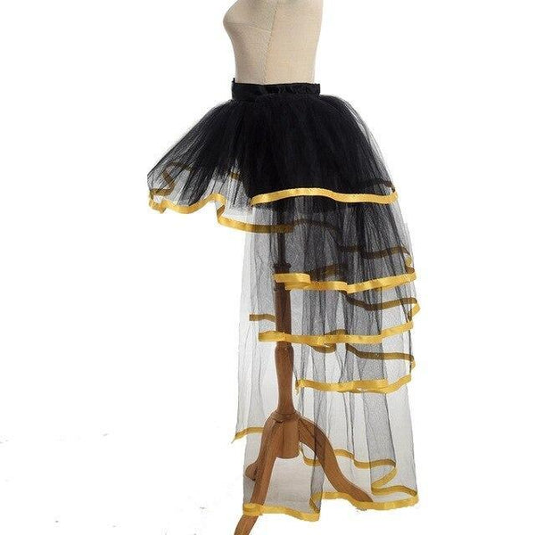 PINkart-USA YELLOW / One Size / China Women Mesh Tulle Bustle Skirt Steampunk Victorian Party Tutu Ruffle Tiered Skirts Dance Stage