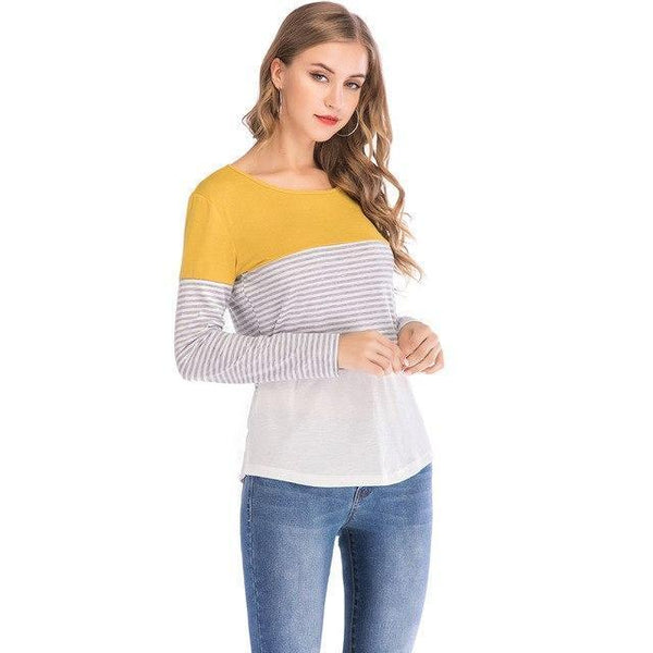 PINkart-USA yellow / S / China Womens T Shirts Tops Autumn And Winter Casual Loose Striped Patchwork Sleeve Tee Shirts Femme