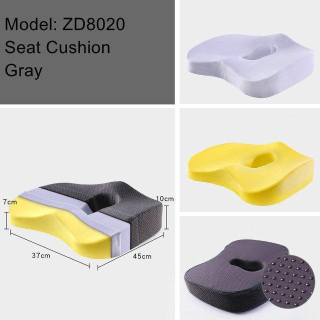 PINkart-USA ZD8020 Gray Non-Slip Orthopedic Memory Foam Seat Cushion For Office Chair Car Wheelchair Back Support