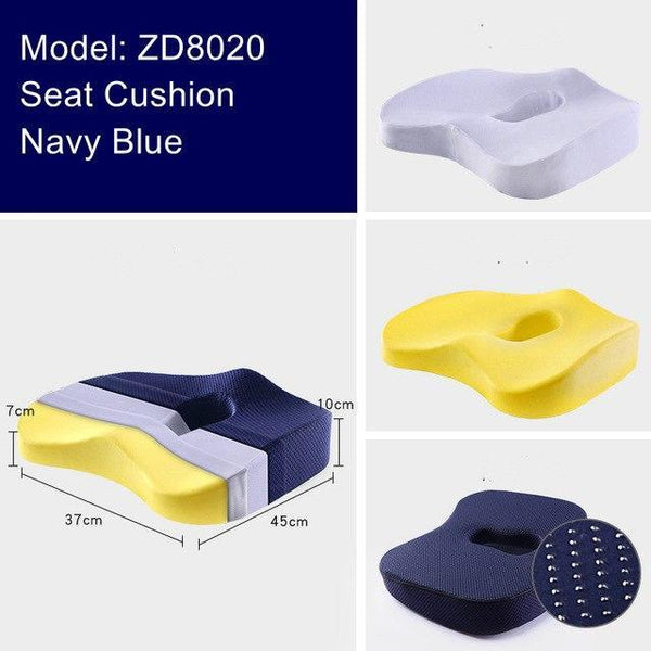 PINkart-USA ZD8020 Navy Non-Slip Orthopedic Memory Foam Seat Cushion For Office Chair Car Wheelchair Back Support