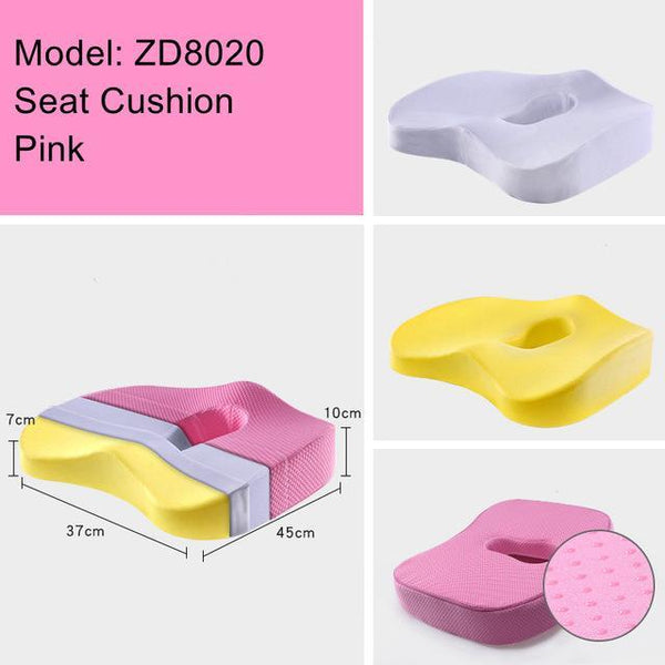 PINkart-USA ZD8020 Pink Non-Slip Orthopedic Memory Foam Seat Cushion For Office Chair Car Wheelchair Back Support