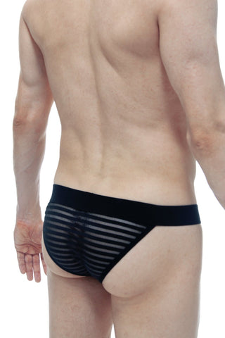 Tanga Mesh Stripes Noir