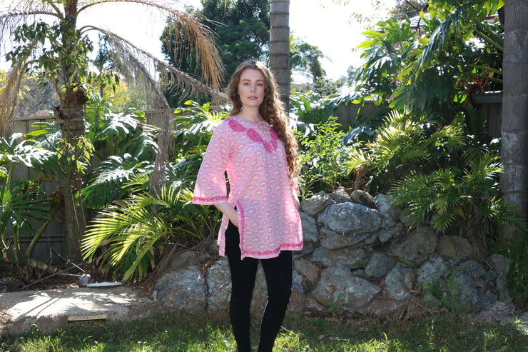Pink Bell Sleeves Hand Block Print Tunic Kurta with Chikankari Hand Embroidery