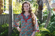 Bell Sleeves Hand Block Print Tunic Kurta with Chikankari Hand Embroidery