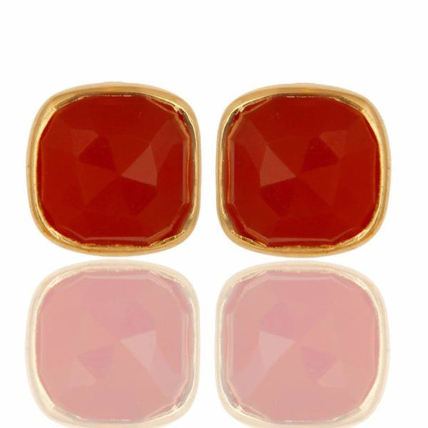 14K Yellow Gold Over 925 Sterling Silver Natural Red Onyx Studs Earrings Jewellery