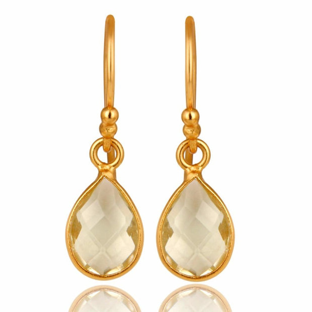 14K Yellow Gold Plated Sterling Silver Lemon Topaz Bezel Set Drop Earrings