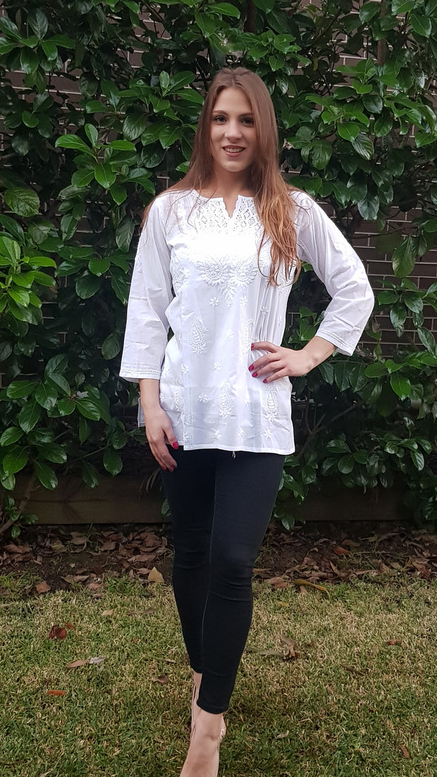 White Hand Embroidered Short Shirt