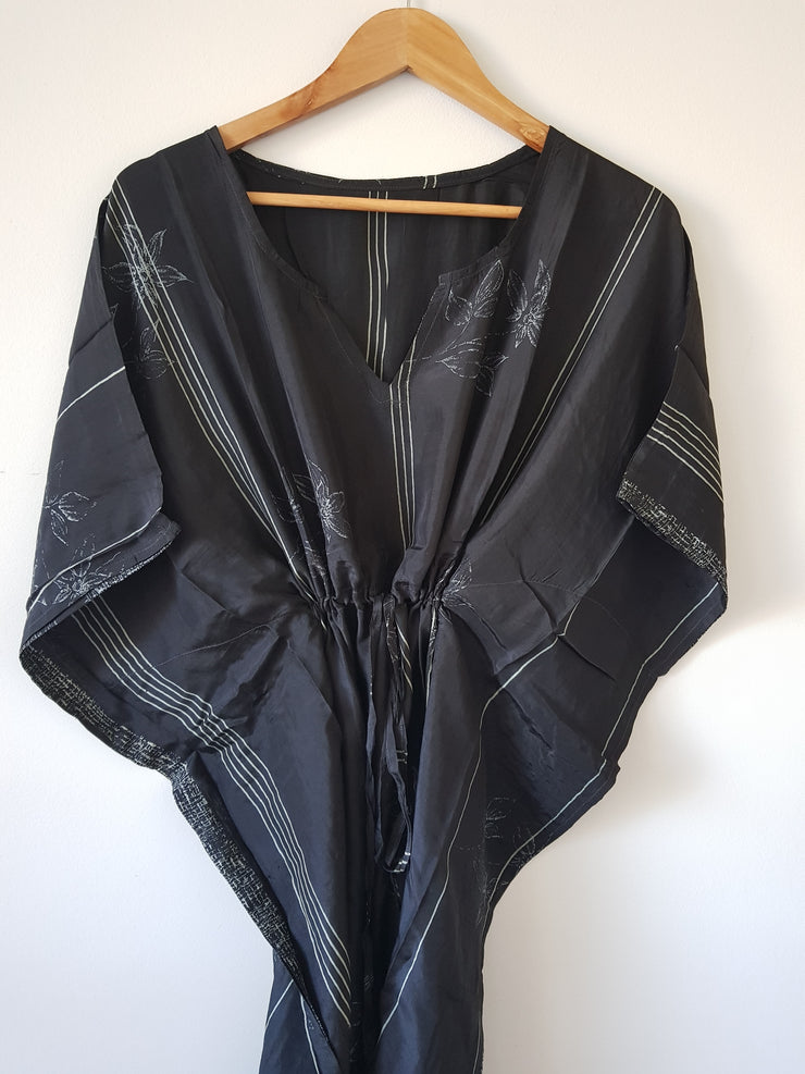 Black Vintage Silk Long Kaftan