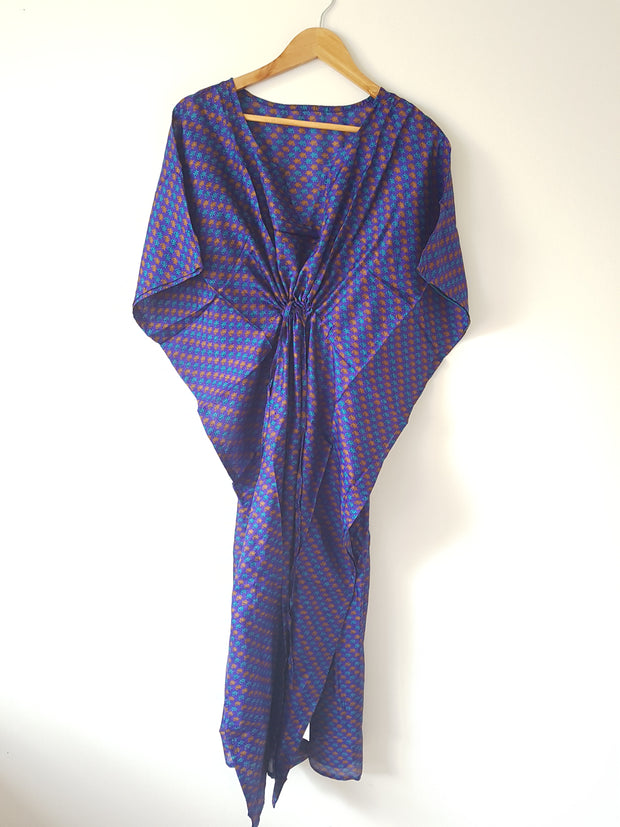 Deep Blue Vintage Silk Long Kaftan