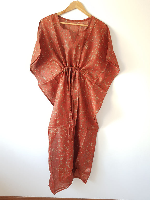 Vintage Silk Long Kaftan - Eesha Boutique