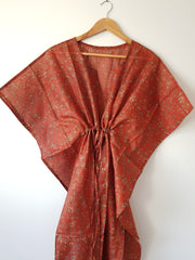 Brick Copper Vintage Silk Long Kaftan