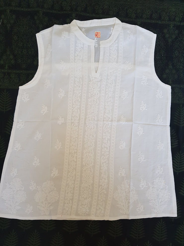White Cotton Blouse, Hand Embroidered Tunic Top