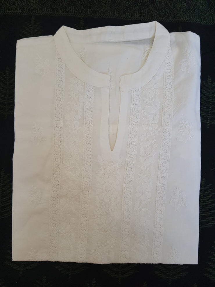 White Embroidered Short Blouse-Leela