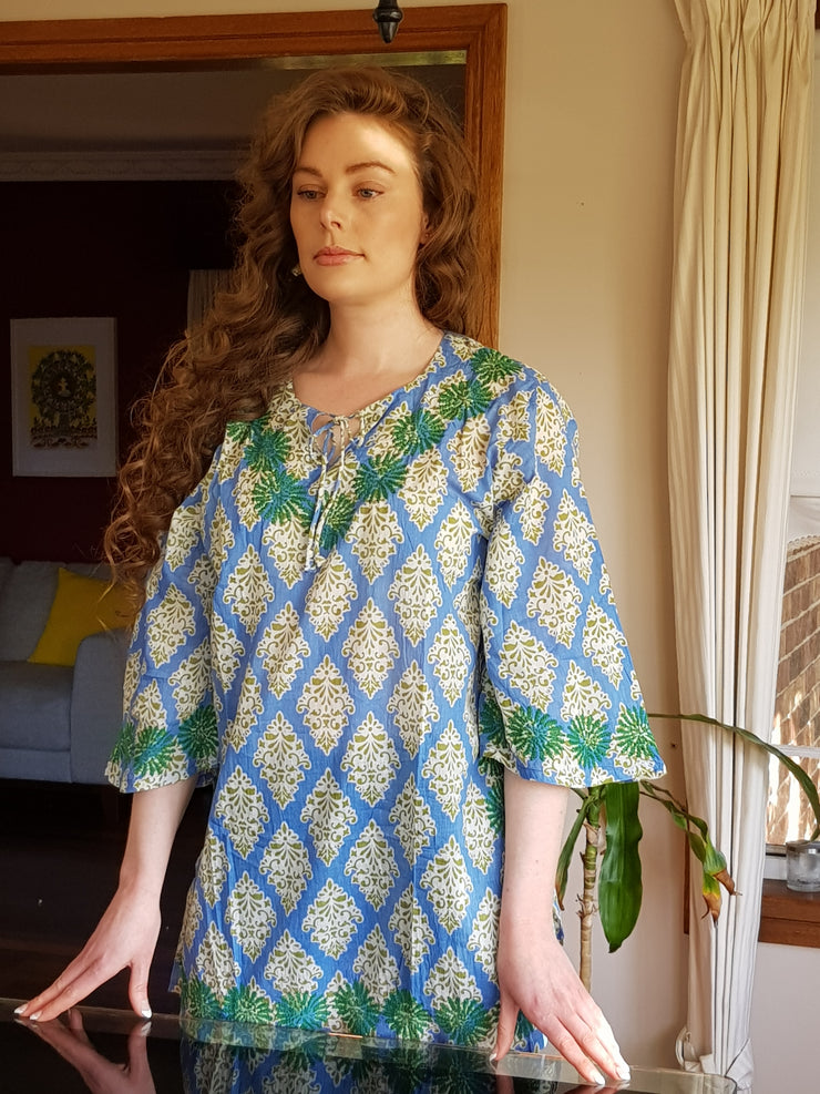 Sky Blue Bell Sleeves Hand Block Print Tunic Kurta with Chikankari Hand Embroidery