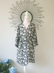 Hand Block Print Cotton Voile Short Kimono Robe, Black Floral Bridal Robe, Bridesmaid Robe, Dressing Gown, XS-L Size