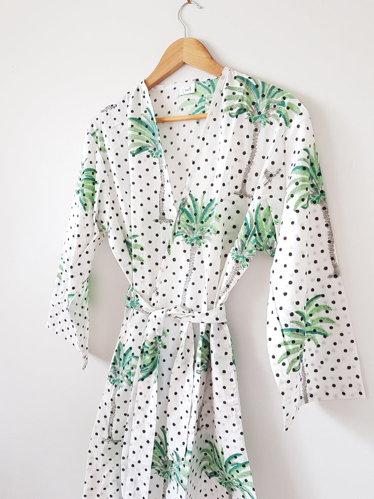 Polka Dot Palm Tree Print Short Kimono Robe, XS-L Size