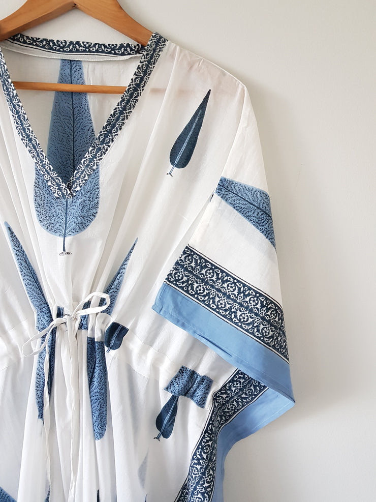 Blue Cyprus - Block Print Long Kaftan