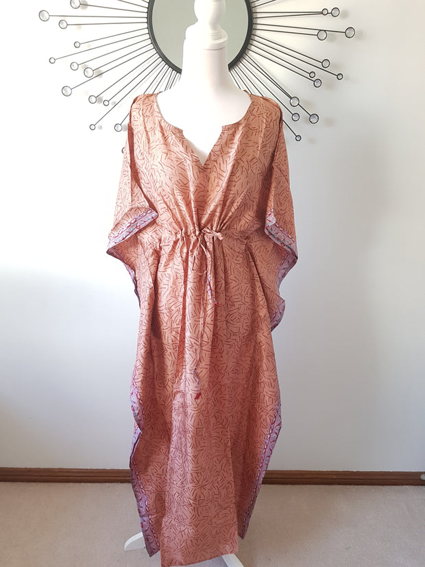 Blush Vintage Silk Long Kaftan