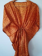 Copper Paisley Vintage Silk Long Kaftan