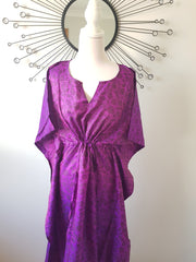 Purple Vintage Silk Long Kaftan