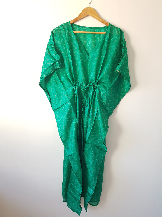 Deep Green Vintage Silk Long Kaftan - Eesha Boutique