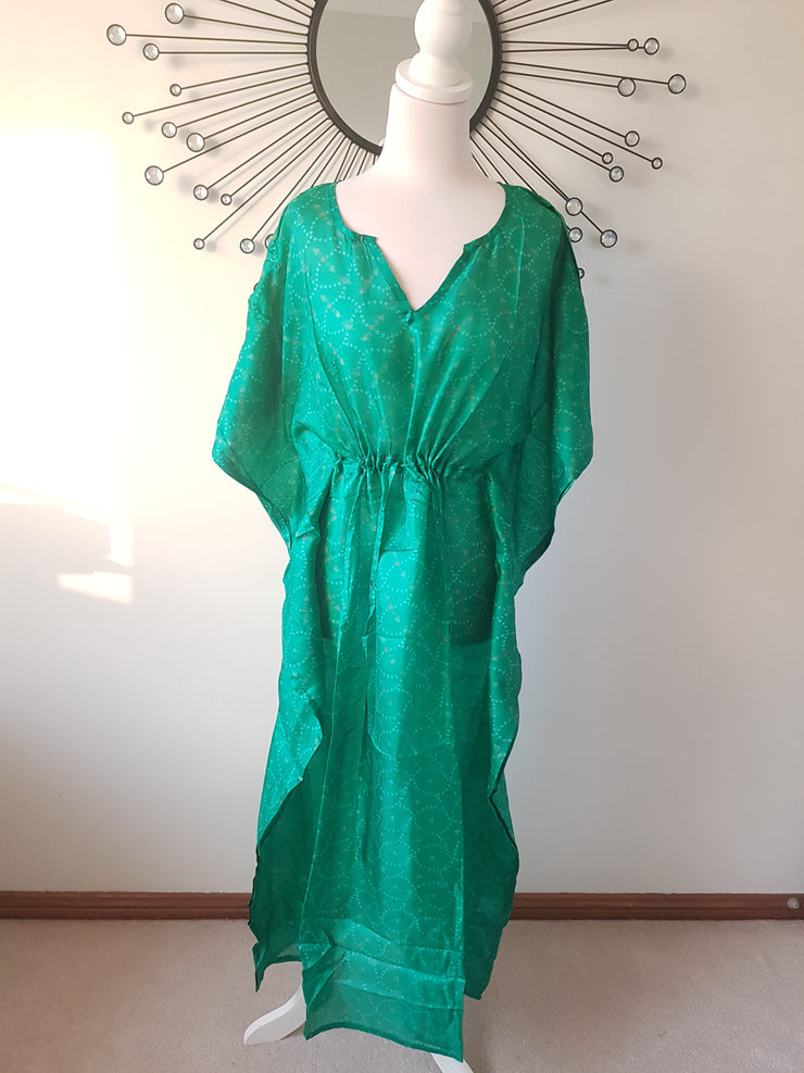 Deep Green Vintage Silk Long Kaftan
