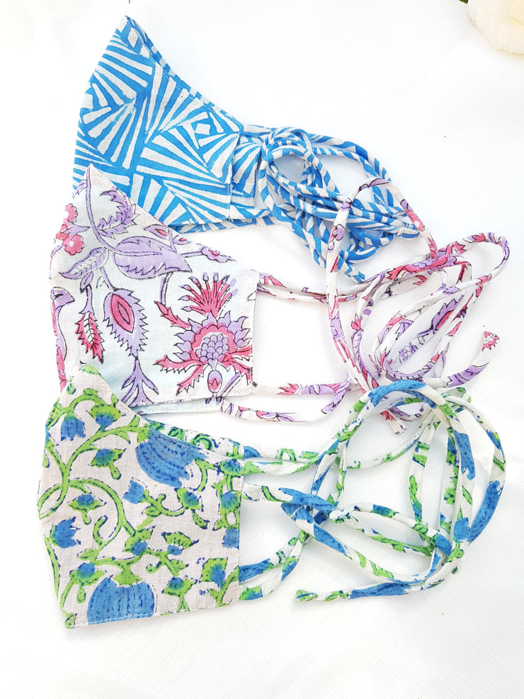 Set of 3 Face Masks - Three layers with string