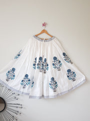 Hand Block Print Cotton Gathered Skirt