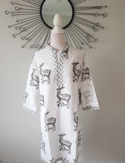 Hand Block Print White  Cotton Tunic