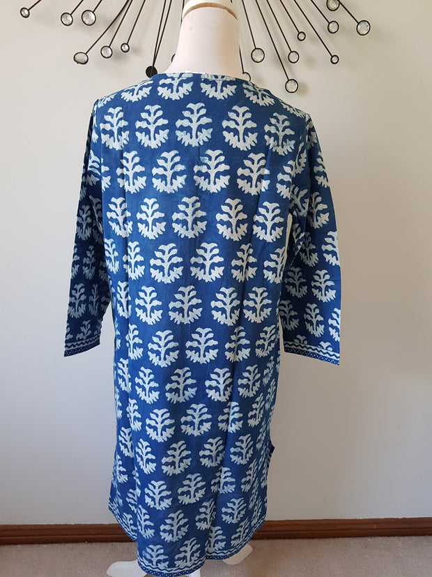 Indigo Tree Hand Block Print Tunic