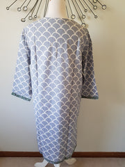 Grey Waves Hand Block Print Tunic