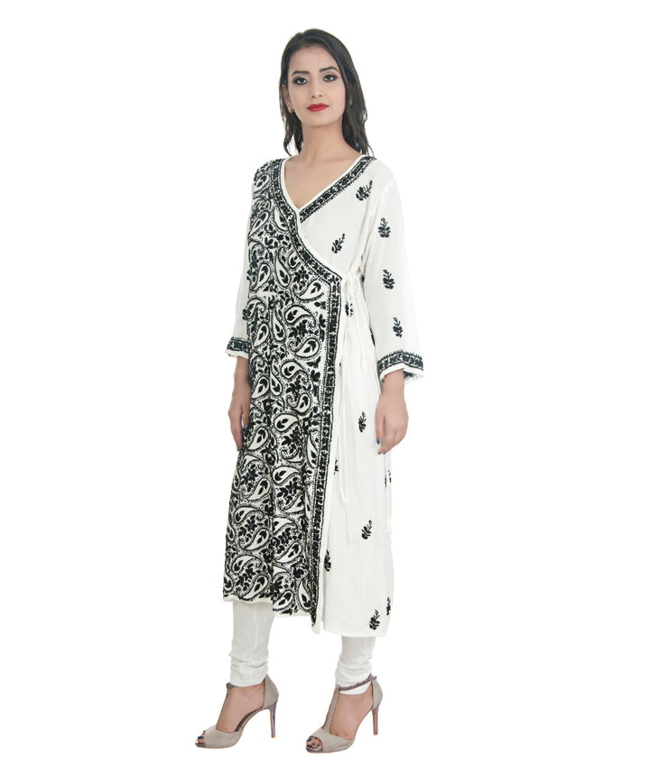 Angarkha Style Long Hand Embroidered Tunic Kurta