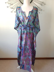 Blue Shaded Vintage Silk Long Kaftan