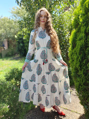Chinar - Paisley Tiered Long Hand Block Print Dress