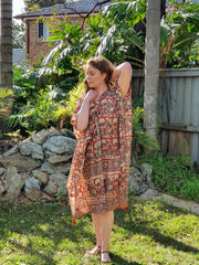 Short Kaftan - hand Block Print With Tussles