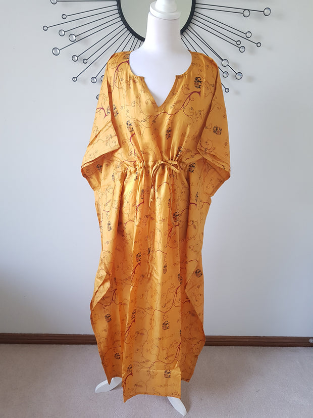 Elephant Print Mustard Yellow Vintage Silk Long Kaftan