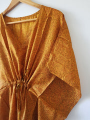 Mustard Yellow Vintage Silk Long Kaftan