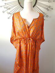 Orange Vintage Silk Long Kaftan - Eesha Boutique
