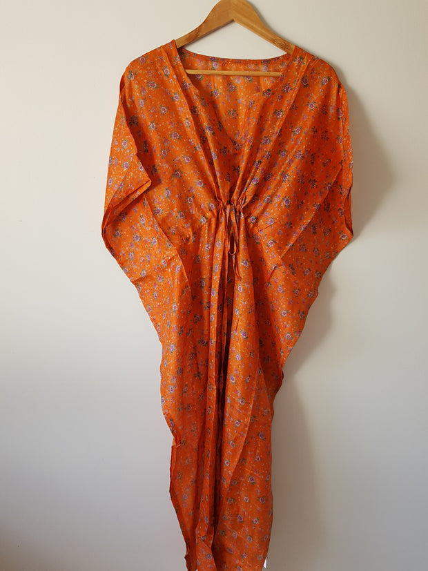 Orange Floral Vintage Silk Long Kaftan