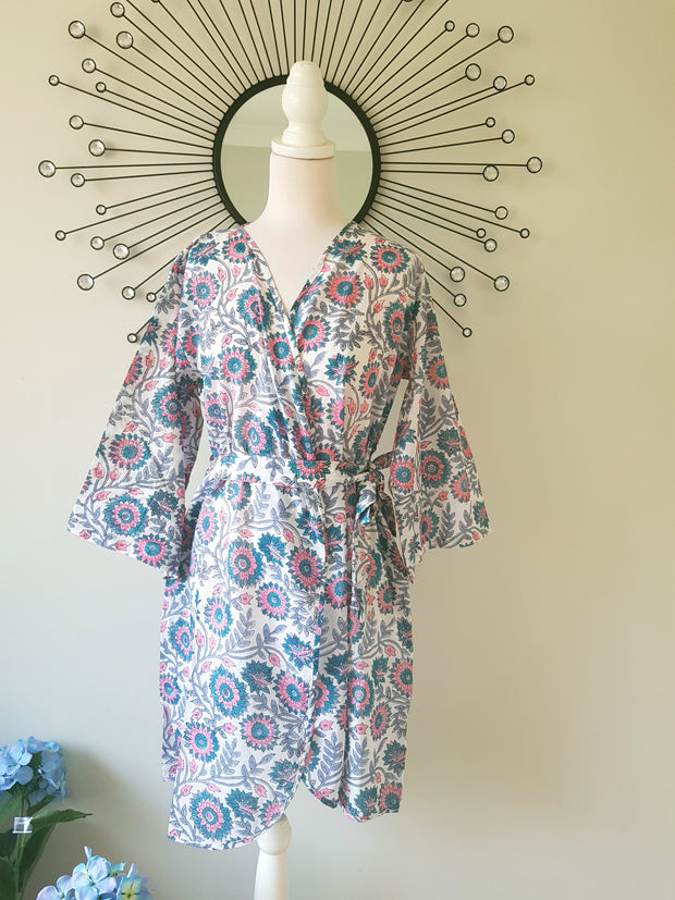Pink Floral Bridal Robe, Hand Block Print Cotton Voile Short Kimono Robe, Bridesmaid Robe, Dressing Gown, XS-L Size