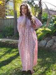 Pink and white Hand Block Print Organic Cotton Voile Long Kaftan