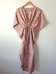 Pink Vintage Silk Long Kaftan - Eesha Boutique
