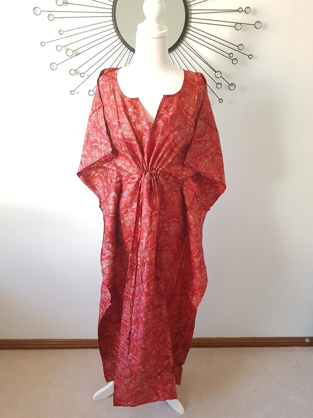 Red Floral Vine Vintage Silk Long Kaftan