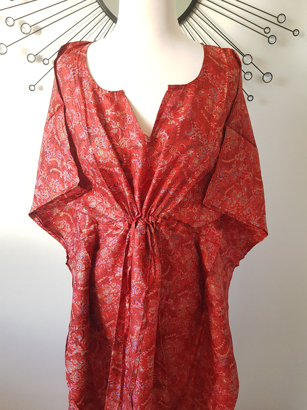 Red Vintage Silk Long Kaftan - Eesha Boutique